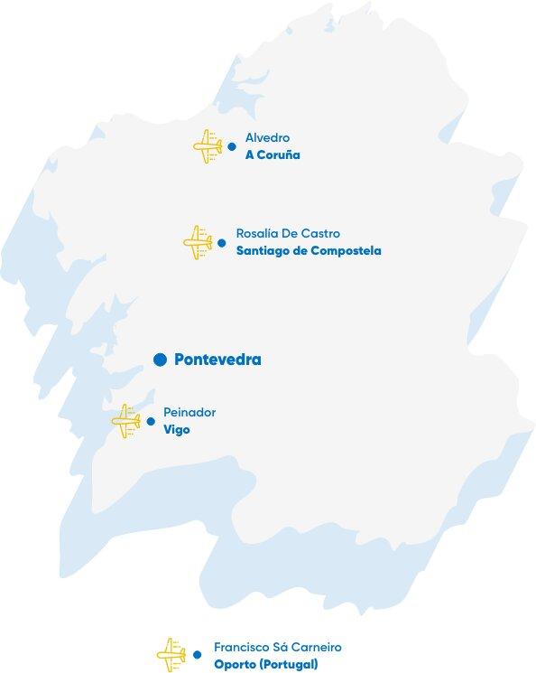 Mapa Aeropuertos Galicia
